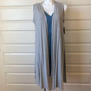 Medium Gray Stripes Lularoe Joy Duster Vest